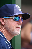 Bench coach Mark McGwire of the San Diego Padres looks on before a baseball game against the Washington Nationals at Nationals Park on July 24 2016...