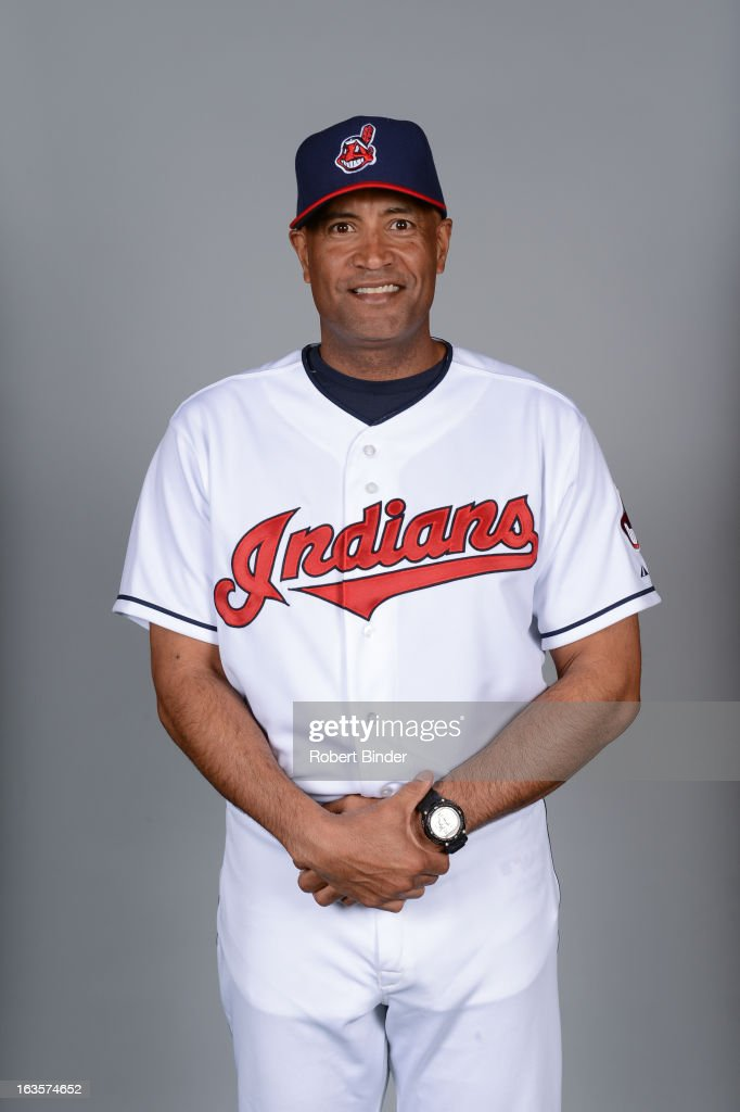 Bench coach <a gi-track='captionPersonalityLinkClicked' href=/galleries/search?phrase=Sandy+Alomar+Jr.&family=editorial&specificpeople=239068 ng-click='$event.stopPropagation()'>Sandy Alomar Jr.</a> #15 of the Cleveland Indians poses during Photo Day on February 19, 2013 at Goodyear Ballpark in Goodyear, Arizona.