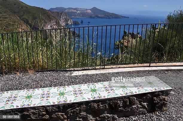 Bench decorated with ceramic tiles, Lipari