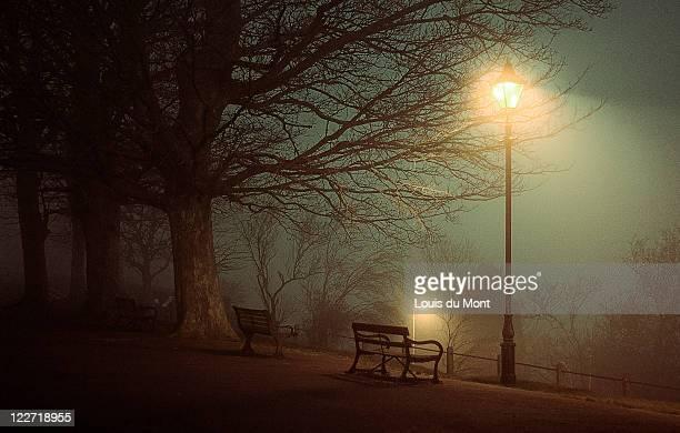 Bench in fog