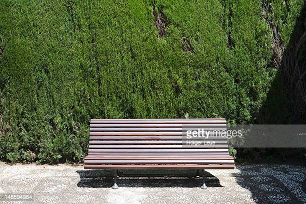Bench in gardens of Alhambra.