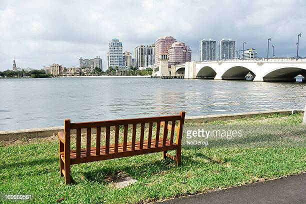 Bench overlooking the Intracoastal Waterway opposite downton West Palm Beach