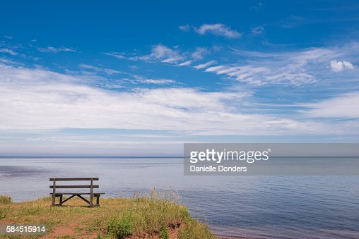 Bench overlooking the ocean at North Cape, PEI