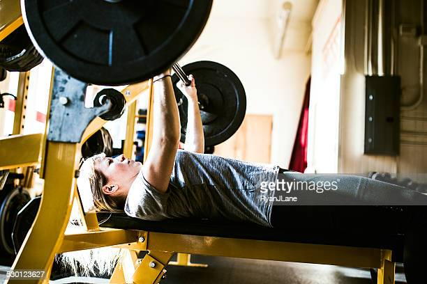 Bench Press Young Woman