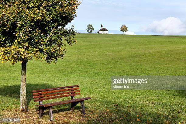 Bench seat in landscape Chiemgau Upper Bavaria Germany