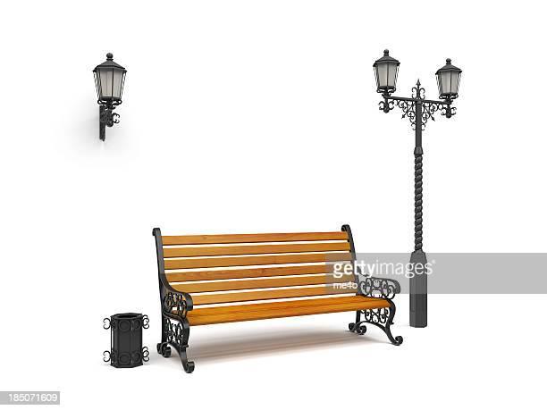 Banc de musculation, rue lampe, panier isolé sur blanc, vue de jour