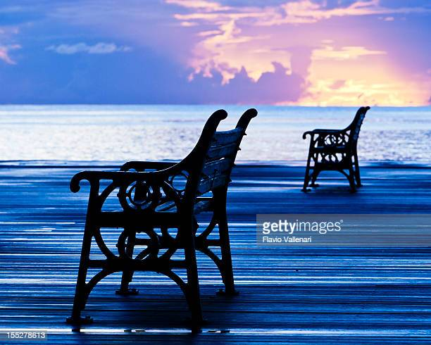 Benches at sunset, Bridgetown