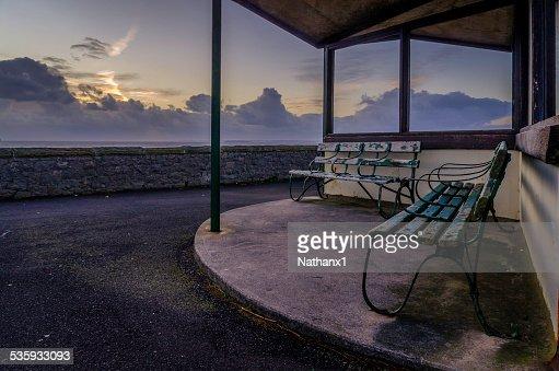 benches on the sea front in weston super mare, monochrome : Stock Photo