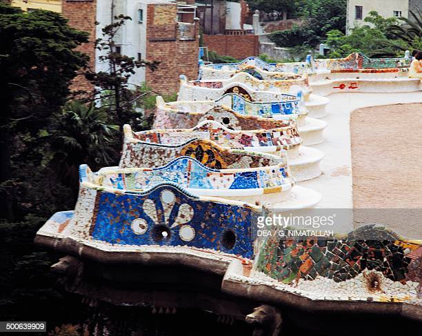 Benches on the terrace of Park Guell 19001914 architect Antoni Gaudi Barcelona Catalonia Spain 20th century