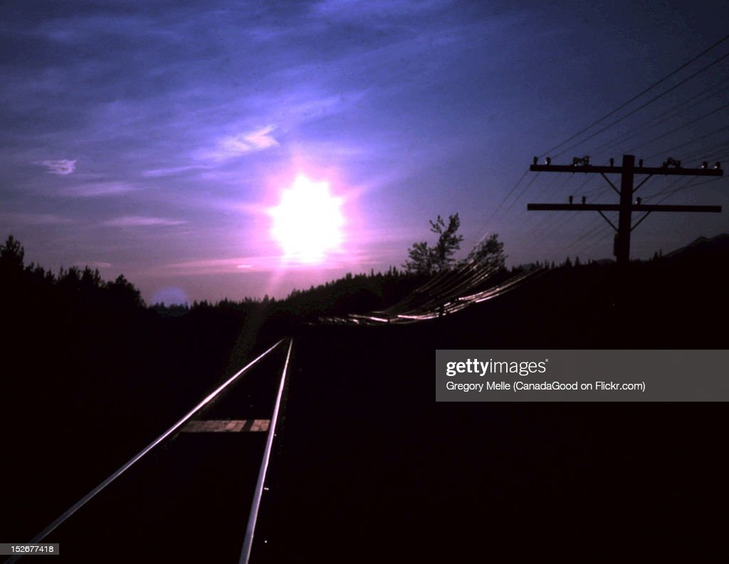 Bend BC afternoon tracks and telegraph line : Stock Photo