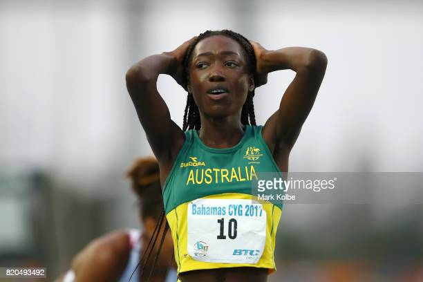 Bendere Oboya of Australia reacts after victory in Girls 400m Final on day 4 of the 2017 Youth Commonwealth Games at Thomas A Robinson National...