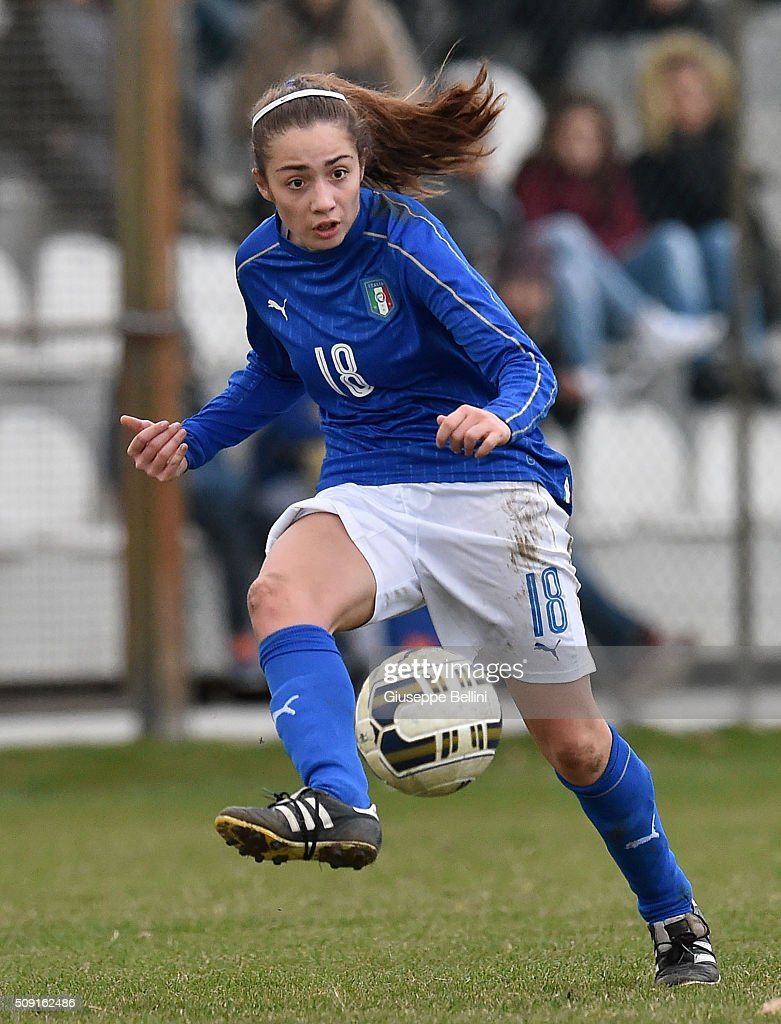 Benedetta Glionna of Italy in action during the Women's U17 international friendly match between Italy and Norway on February 9, 2016 in Cervia, Italy.
