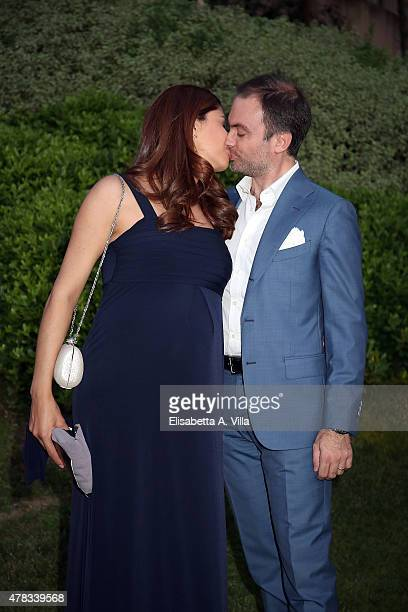 Benedetta Rinaldi and husband Emanuele attend '2015 Sesterzio D'Argento' Awards Ceremony at Villa Agrippina on June 24 2015 in Rome Italy
