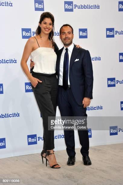 Benedetta Rinaldi and Paolo Poggio attend the Rai Show Schedule Presentation In Rome on July 4 2017 in Rome Italy