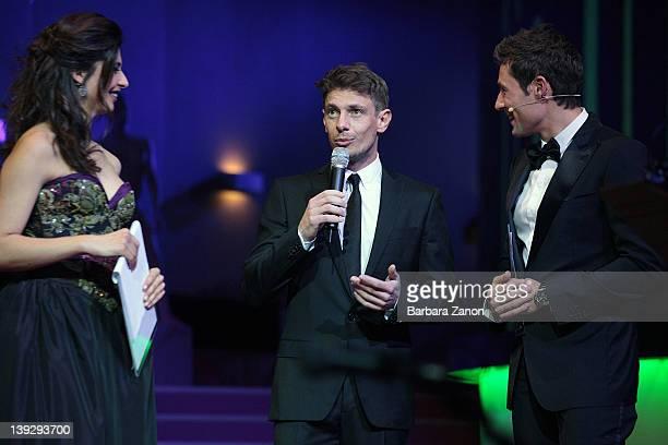 Benedetta Rinaldi Giorgio Pasotti and Massimiliano Ossino attend the exclusive Ballo della Cavalchina at Fenice Theatre on February 18 2012 in Venice...