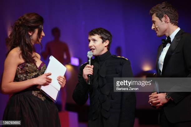 Benedetta Rinaldi James Blunt and Massimiliano Ossino attend the exclusive Ballo della Cavalchina at Fenice Theatre on February 18 2012 in Venice...