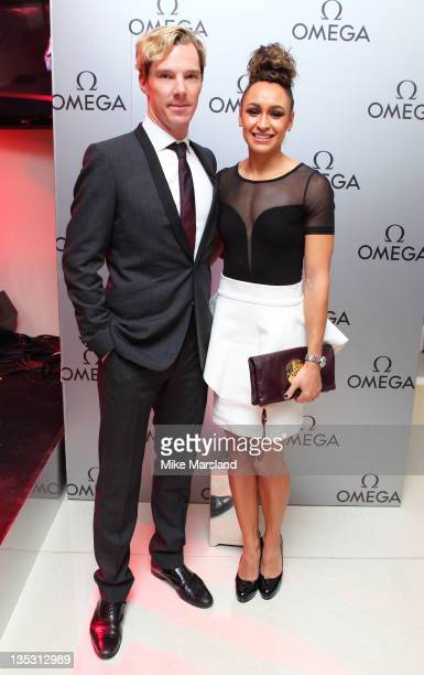 Benedict Cumberbatch and Jessica Ennis attend the store launch of Omega Boutique Westfield Stratford City on December 8 2011 in London England