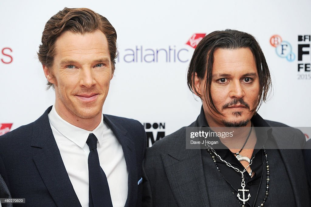 Benedict Cumberbatch (L) and Johnny Depp attends the Virgin Atlantic Gala screening of 'Black Mass' during the BFI London Film Festival at Odeon Leicester Square on October 11, 2015 in London, England.