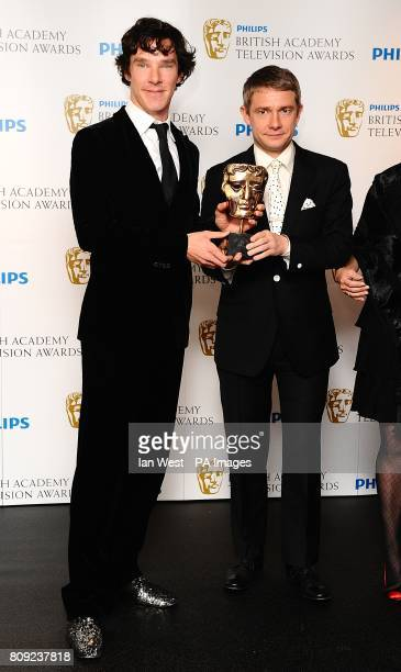 Benedict Cumberbatch and Martin Freeman with the best Drama award received for Sherlock at the Philips British Academy Television Awards at the...