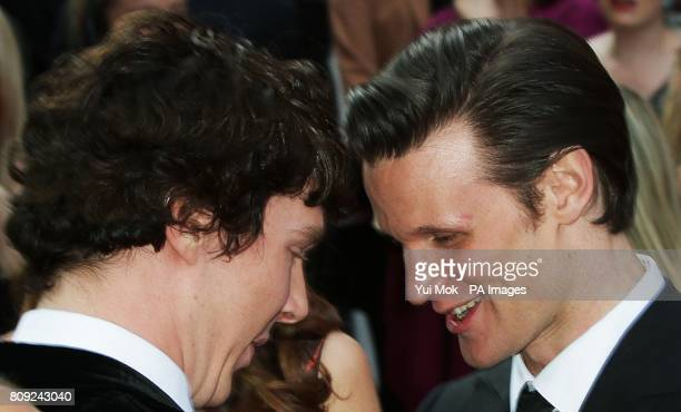 Benedict Cumberbatch and Matt Smith greet each other whilst arriving for the Philips British Academy Television Awards at the Grosvenor House 90 Park...