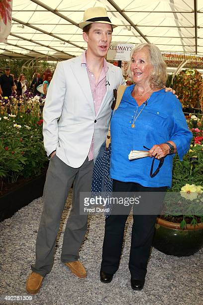 Benedict Cumberbatch and mother Wanda Ventham attend the VIP preview day of The Chelsea Flower Show at The Royal Hospital Chelsea on May 19 2014 in...