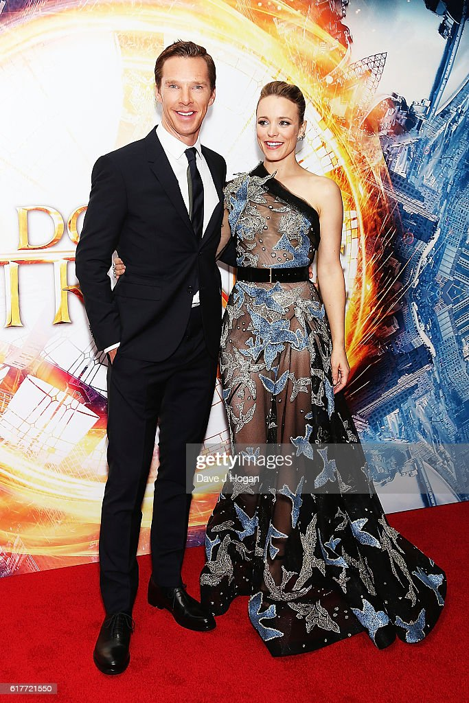 Benedict Cumberbatch (L) and Rachel McAdams attend the fan screening event for 'Doctor Strange' on October 24, 2016 in London, United Kingdom.
