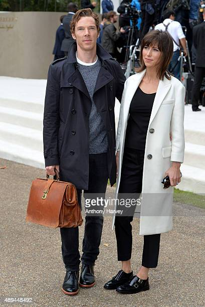 Benedict Cumberbatch and Sophie Hunter attend the Burberry Prorsum show during London Fashion Week Spring/Summer 2016/17 on September 21 2015 in...