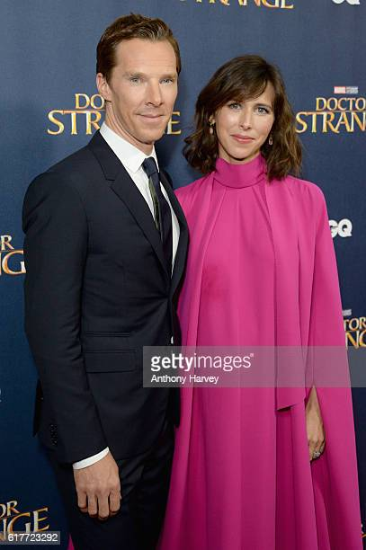 Benedict Cumberbatch and Sophie Hunter attend the red carpet launch event for 'Doctor Strange' at Westminster Abbey on October 24 2016 in London...