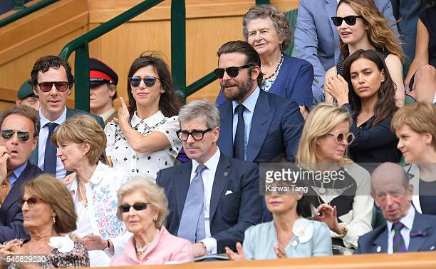 Benedict Cumberbatch and Sophie Hunter Bradley Cooper and Irina Shayk attend the Men's Final of the Wimbledon Tennis Championships between Milos...