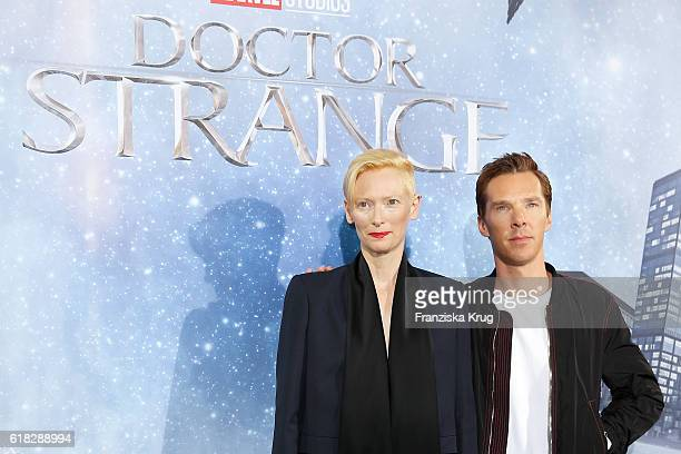 Benedict Cumberbatch and Tilda Swinton attend the 'Doctor Strange' photocall at Soho House on October 26 2016 in Berlin Germany