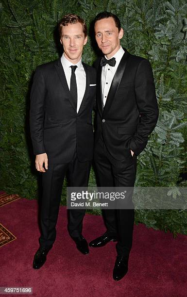 Benedict Cumberbatch and Tom Hiddleston attend a champagne reception at the 60th London Evening Standard Theatre Awards at the London Palladium on...