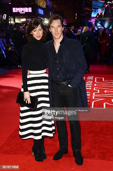 Benedict Cumberbatch and wife Sophie Hunter attend the European Premiere of 'Star Wars The Force Awakens' at Leicester Square on December 16 2015 in...