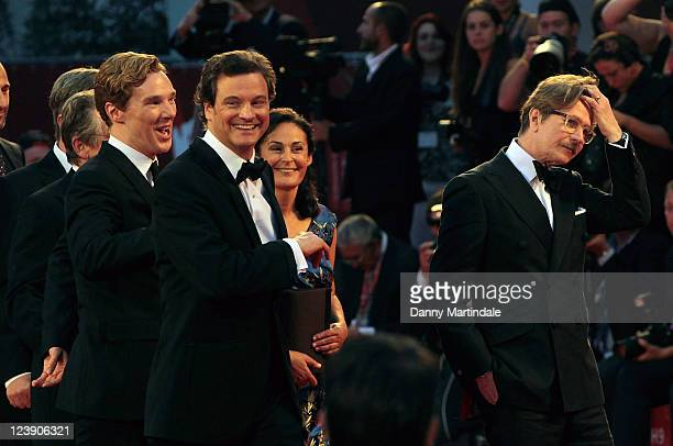 Benedict Cumberbatch Colin Firth and Gary Oldman share a joke on the red carpet at the 'Tinker Tailor Soldier Spy' Premiere at Palazzo del Cinema on...