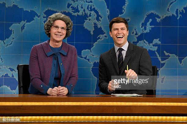 LIVE 'Benedict Cumberbatch' Episode 1709 Pictured Dana Carvey as Church Lady and Colin Jost during Weekend Update on November 5 2016