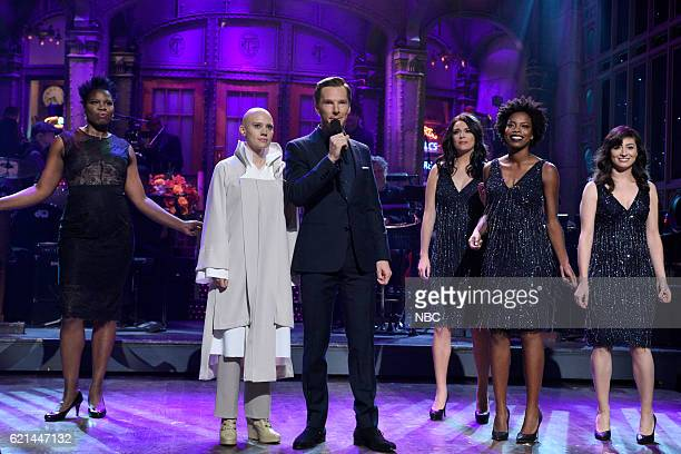 LIVE 'Benedict Cumberbatch' Episode 1709 Pictured Leslie Jones Kate McKinnon as Tilda Swinton Benedict Cumberbatch Cecily Strong Sasheer Zamata and...