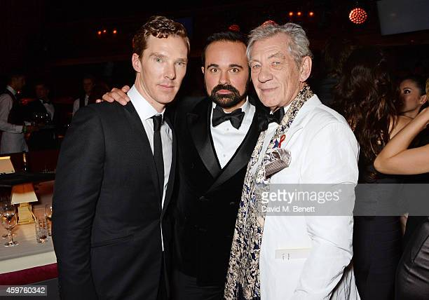 Benedict Cumberbatch Evgeny Lebedev and Sir Ian McKellen attend an after party following the 60th London Evening Standard Theatre Awards at the...