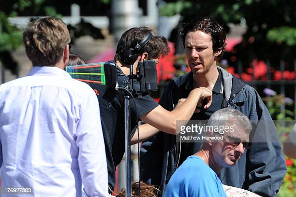 Benedict Cumberbatch filming on the set of BBC production 'Sherlock' on August 18 2013 on Bute Street in Cardiff Wales