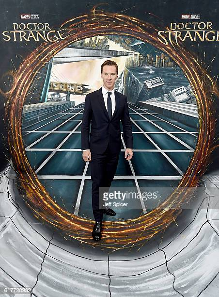 Benedict Cumberbatch in front of the Doctor Strange inspired 3D Art at a fan screening to celebrate the release of Marvel Studio's Doctor Strange at...