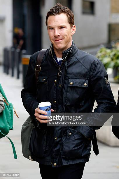 Benedict Cumberbatch seen arriving at the BBC Radio 1 Studios on March 25 2015 in London England
