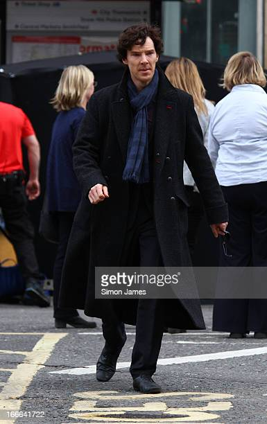 Benedict Cumberbatch sighting on set of Sherlock on April 14 2013 in London England
