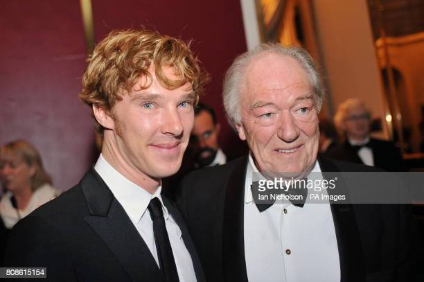 Benedict Cumberbatch talks with Sir Michael Gambon at the London Evening Standard Theatre Awards at the Savoy Hotel