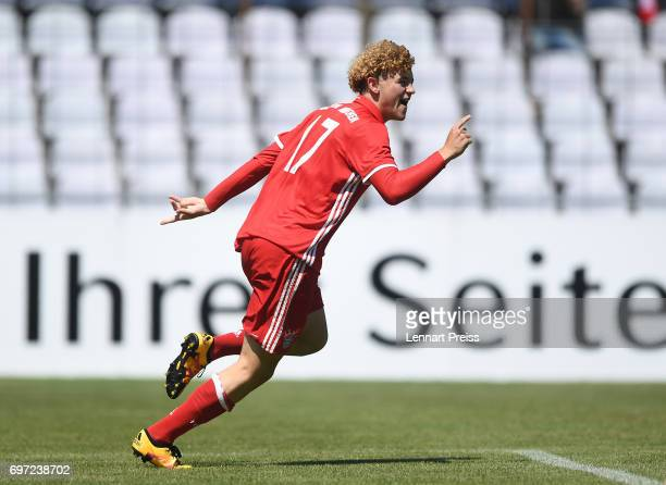 Benedict Hollerbach of FC Bayern Muenchen celebrates scoring his team's second goal during the B Juniors German Championship Final between FC Bayern...