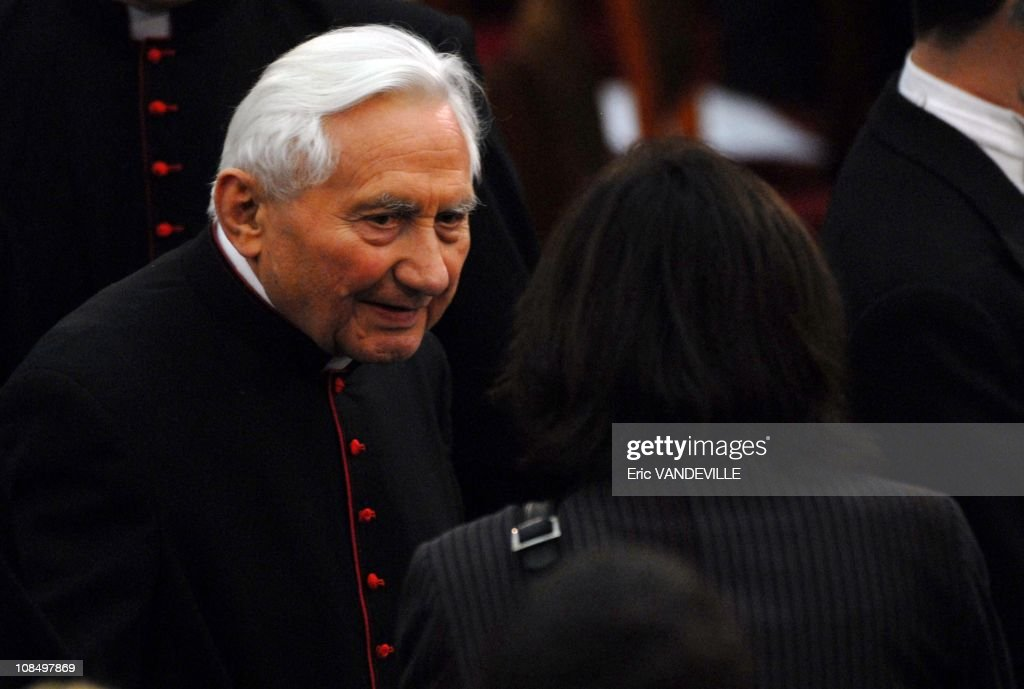 Benedict XVI's brother, Monsignor <a gi-track='captionPersonalityLinkClicked' href=/galleries/search?phrase=Georg+Ratzinger&family=editorial&specificpeople=641406 ng-click='$event.stopPropagation()'>Georg Ratzinger</a>. Pope Benedict XVI celebrates his 80th birthday at the Vatican City on April 16, 2007. Pope Benedict XVI attends a special concert performed by Germany's Stuttgart Radiophonic orchestra in honour of his 80th birthday at Paul VI hall at the Vatican. Program: Mozart, Dvorak and Gabrieli.