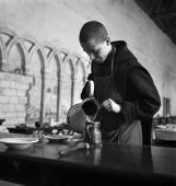 Benedictine monk being serve The SaintWandrille abbey about 1935