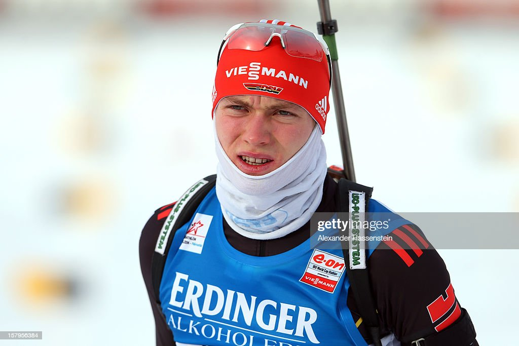 Benedikt Doll of Germany at the zeoring for the men's 10km sprint event during the IBU Biathlon World Cup on December 7, 2012 in Hochfilzen, Austria.