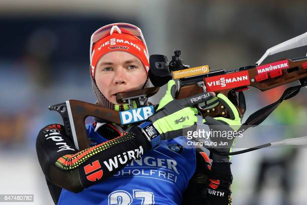 Benedikt Doll of Germany at the zeroing for the Men 10km Sprint during the BMW IBU World Cup Biathlon 2017 test event for PyeongChang 2018 Winter...