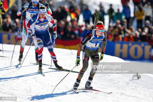 Benedikt Doll of Germany in action during the IBU Biathlon World Championships Men's and Women's Mass Start on February 19 2017 in Hochfilzen Austria