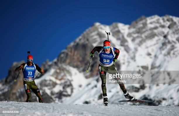 Benedikt Doll of Germany in action during the Men's 20km Individual competition of the IBU World Championships Biathlon 2017 at the Biathlon Stadium...