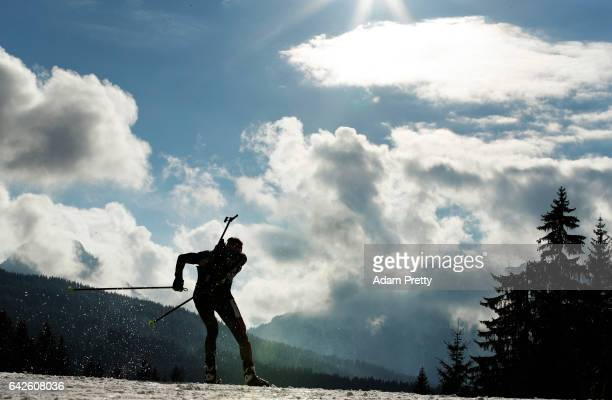 Benedikt Doll of Germany in action during the Men's 4x 75km relay competition of the IBU World Championships Biathlon 2017 at the Biathlon Stadium...
