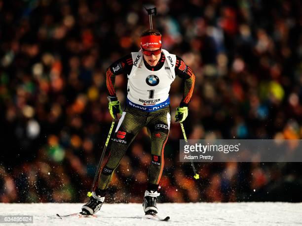 Benedikt Dollof Germany in action during the Men's 125km pursuit competition of the IBU World Championships Biathlon 2017 at the Biathlon Stadium...